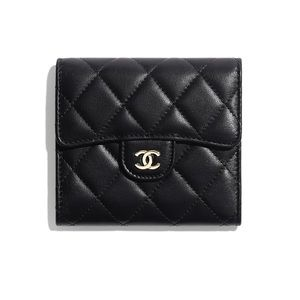 Chanel Black Caviar Compact Wallet Gold Hardware